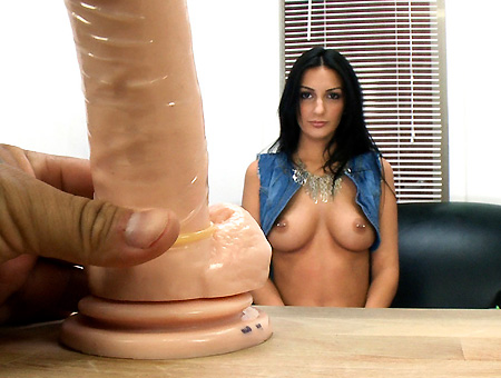 Newbie comes in to show her skills with dildos and other toys